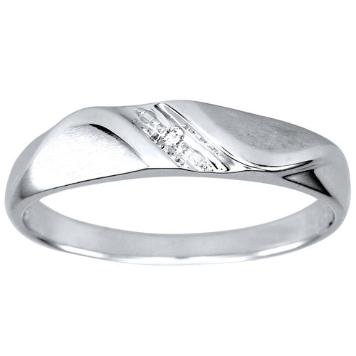 His Slanted Diamond Wedding Band in 10K White Gold (0.01ct tw)