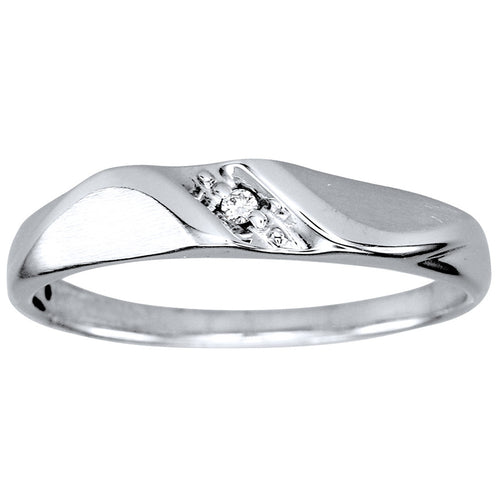 Hers Slanted Diamond Wedding Band in 10K White Gold (0.01ct tw)