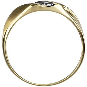 His Slanted Diamond Wedding Band in 10K Yellow Gold (0.01ct tw)
