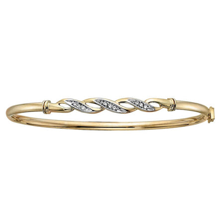 Diamond Pave Wave Bangle in 10K Yellow Gold (0.08ct tw)