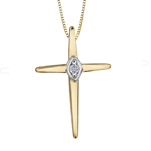 10K Yellow Gold Diamond Cross Pendant with Matching Chain (0.015 ct tw)