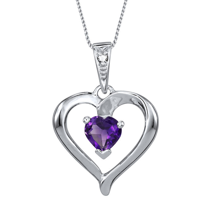 Heart Shaped Amethyst Diamond Necklace in 10K White Gold
