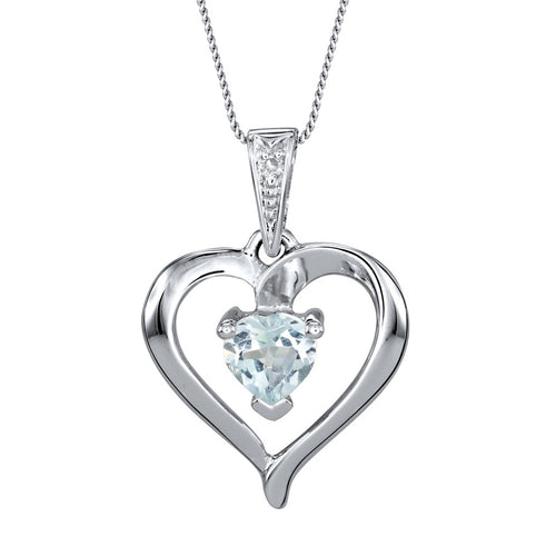 Heart Shaped Aquamarine Diamond Necklace in 10K White Gold