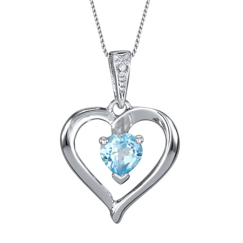 Heart Shaped Blue Topaz Diamond Necklace in 10K White Gold