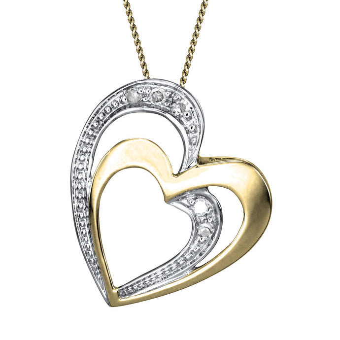 Double Heart Diamond Pavé Necklace in 10K Yellow Gold (0.03ct tw)