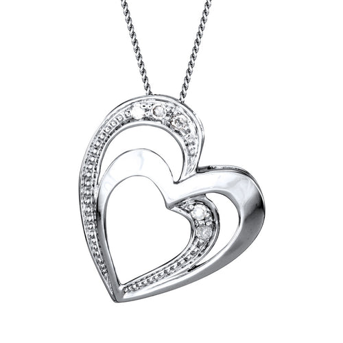 Double Heart Diamond Pavé Necklace in 10K White Gold (0.03ct tw)