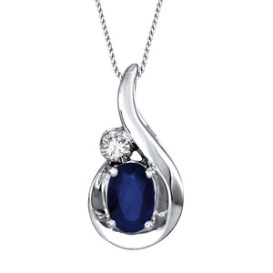Oval Sapphire and Diamond Pendant Necklace in 10K White Gold