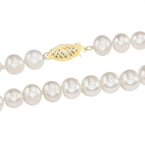 Cultured Pearl Strand Necklace in 14K Yellow Gold