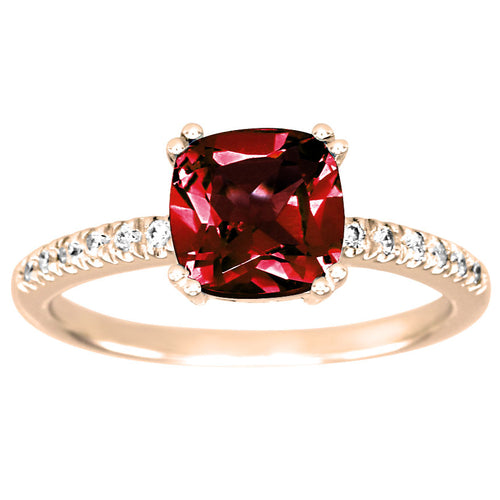 Cushion Shaped Garnet and Diamond Ring in 10K Rose Gold