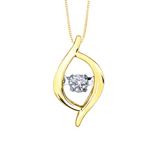 10K Yellow Gold Dancing Diamond Pendant (0.02ct tw)