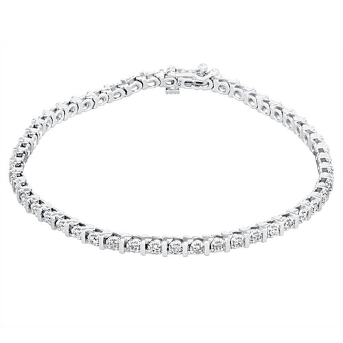 Diamond Bar Tennis Bracelet in 10K White Gold (1.00ct tw)