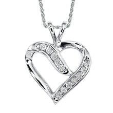 Load image into Gallery viewer, White Gold Heart Pendant and Chain