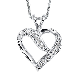 White Gold Heart Pendant and Chain
