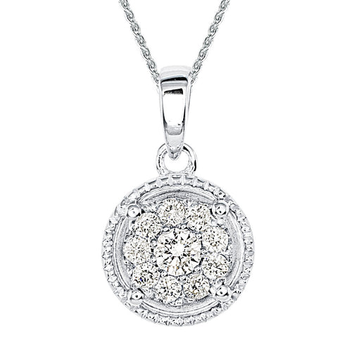 Diamond Cluster Necklace in 10K White Gold (0.17 ct tw)
