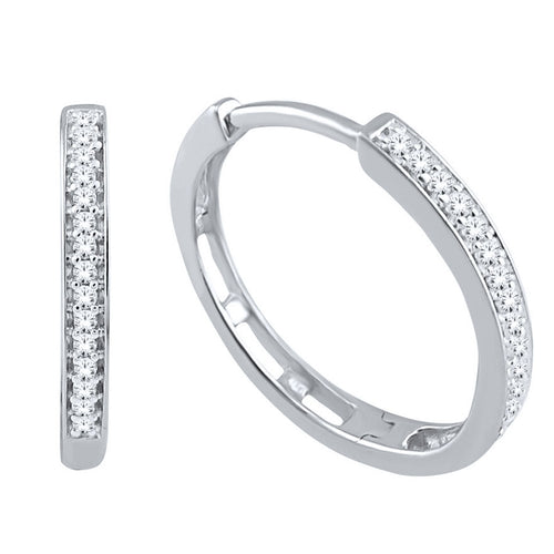 Diamond Hoop Earrings in 10K White Gold (0.10ct tw)