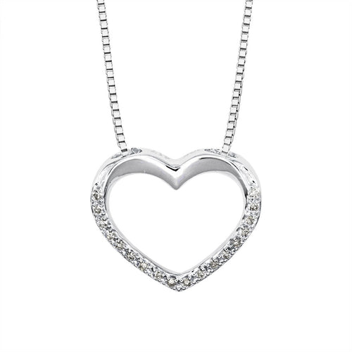 Diamond Lined Heart Necklace in 10K White Gold (0.05ct tw)