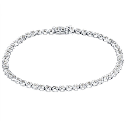 Diamond Round Tennis bracelet in 10K White Gold (1.00ct tw)