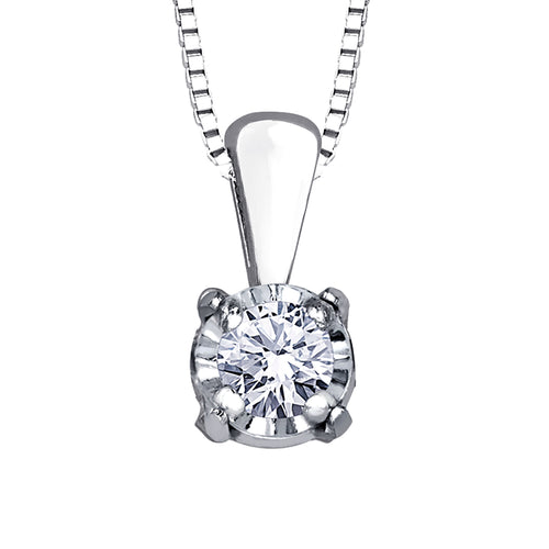 10K White Gold Diamond Pendant (0.03 ct tw)