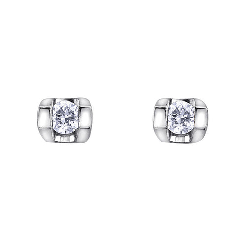 Solitaire Diamond Stud Earrings In 10K White Gold (0.06ct tw)