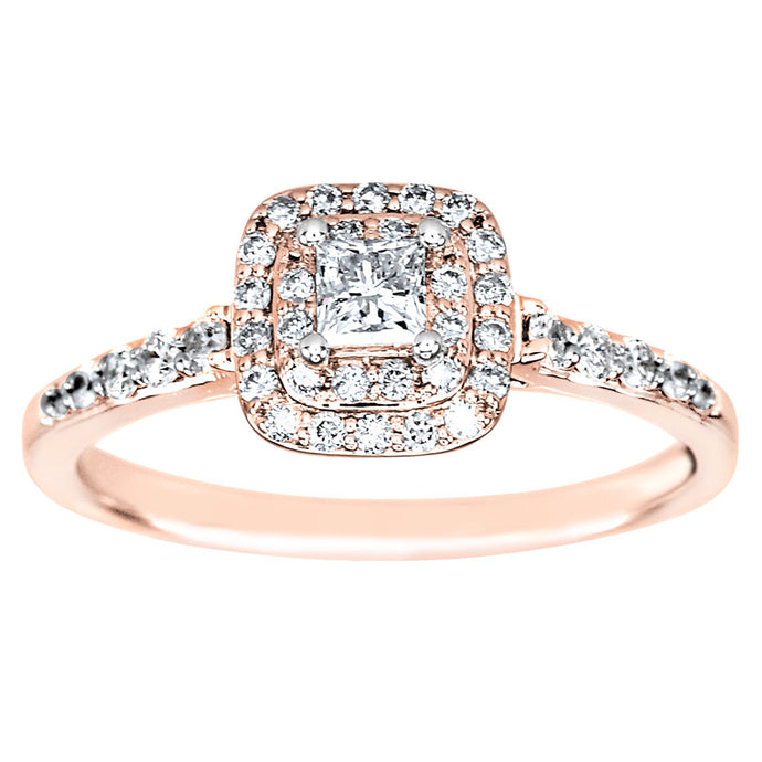 Double Halo Princess Diamond Engagement Ring in 14K Rose Gold (0.50ct tw)