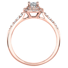 Load image into Gallery viewer, Double Halo Princess Diamond Engagement Ring in 14K Rose Gold (0.50ct tw)