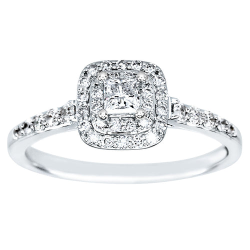 Double Halo Princess Diamond Engagement Ring in 14K White Gold (0.50ct tw)