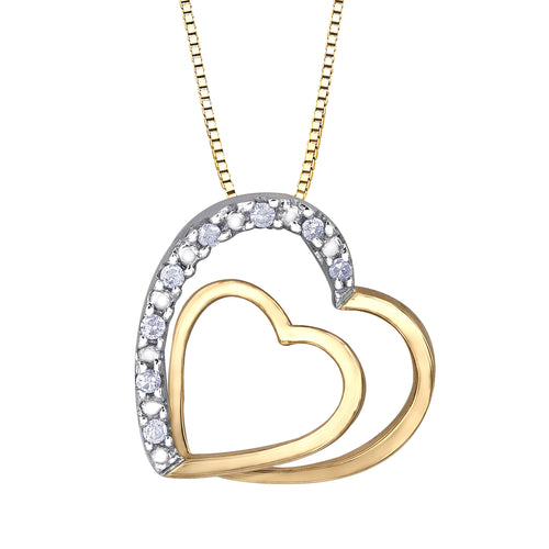 Classic Double Heart Diamond Pendant In 10K Yellow Gold (0.05 ct wt)
