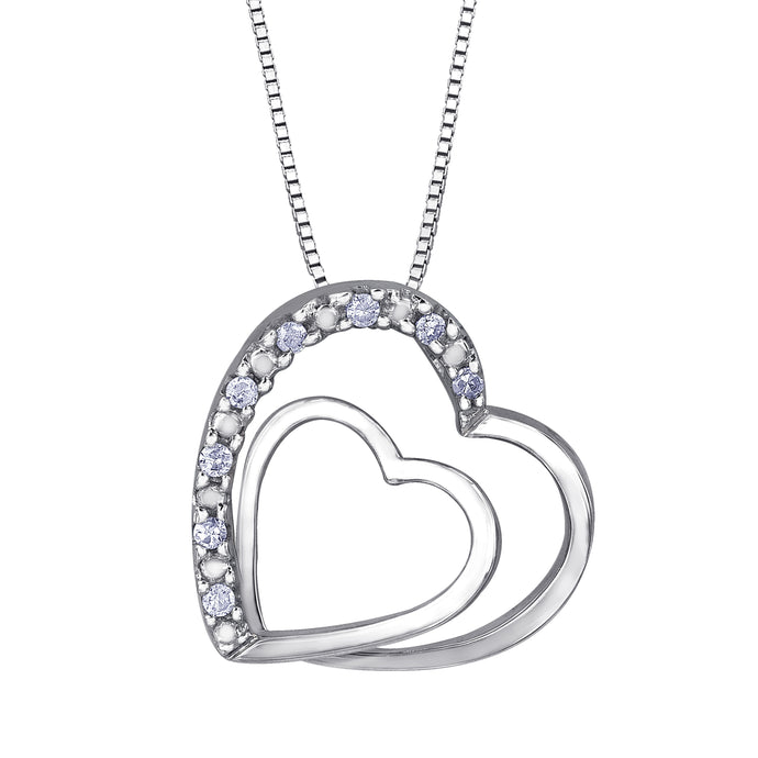 Double Heart Diamond Pendant in 10K White Gold (0.05ct tw)