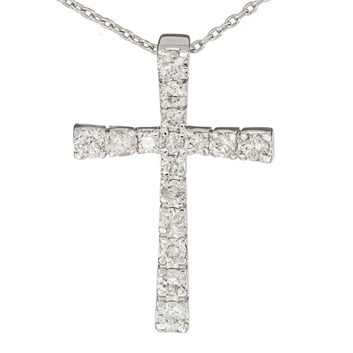 10K White Gold Diamond Cross Pendant (0.50ct tw)