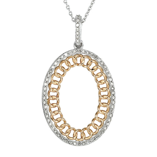 Oval Diamond Pendant in 10K White and Rose Gold (0.25 ct tw)