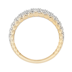 10K Yellow and White Gold Double Row Diamond Anniversary Band (0.33ct tw)