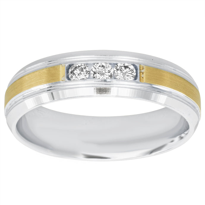 Gents Three-Stone Diamond Band in 14K White and Yellow Gold (0.21ct tw)