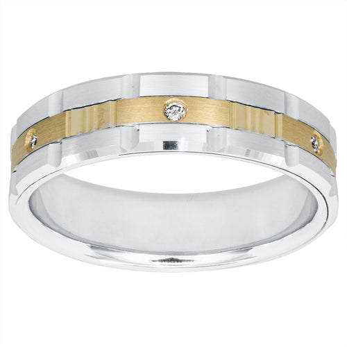 Gents Comfort Fit Two-Tone Diamond Ring 14K White and Yellow Gold (0.03ct tw)