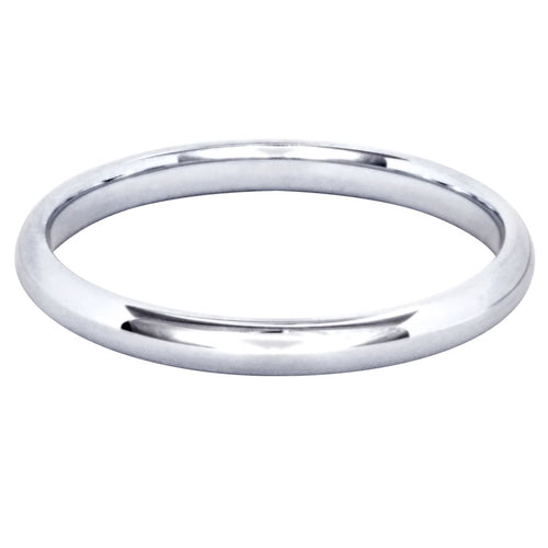 Low Dome Comfort Fit Wedding Band in 14K White Gold (2MM)