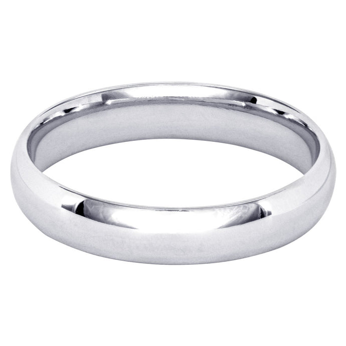 Low Dome Comfort Fit Wedding Band in 14K White Gold (4MM)