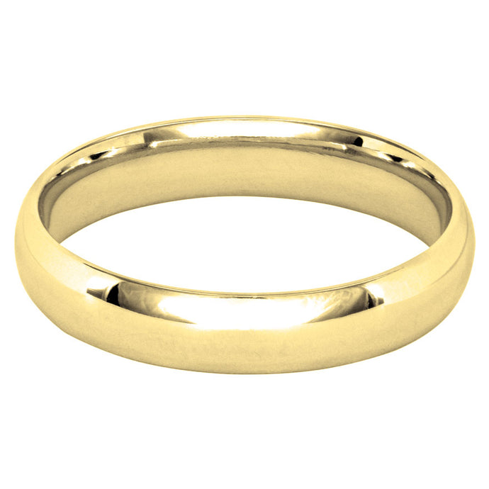 Low Dome Comfort Fit Wedding Band in 14K Yellow Gold (4MM)