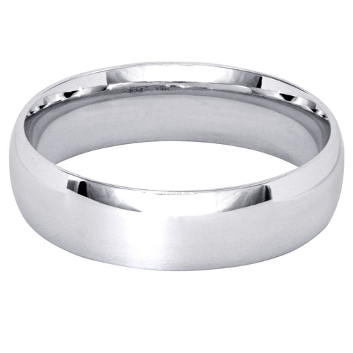 Low Dome Comfort Fit Wedding Band in 14K White Gold (5MM)