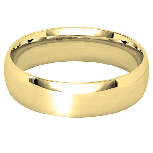 Low Dome Comfort Fit Wedding Band in 14K Yellow Gold (5MM)