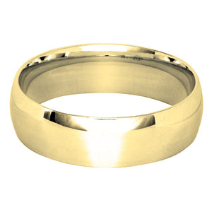 Low Dome Comfort Fit Wedding Band in 14K Yellow Gold (6MM)