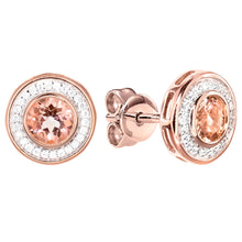 Load image into Gallery viewer, Morganite Diamond Halo Earrings in 14K Rose Gold