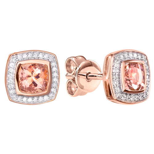 Morganite Diamond Round Square Shaped Earrings in 14K Rose Gold