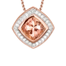 Load image into Gallery viewer, Morganite Diamond Round Square Shaped Necklace in 14K Rose Gold