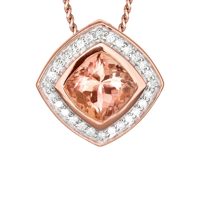 Morganite Diamond Round Square Shaped Necklace in 14K Rose Gold