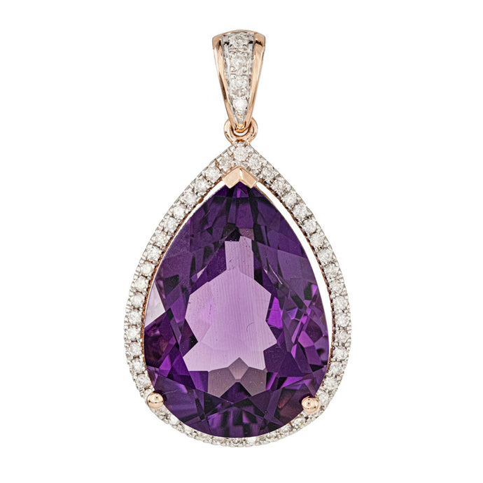 Pear Shape Amethyst and Diamond Pendant in 14K Rose Gold