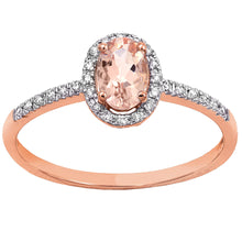 Load image into Gallery viewer, Oval Morganite Halo Diamond Ring in 14K Rose Gold (6mm x 4mm)