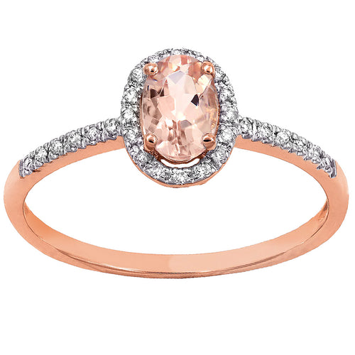 Oval Morganite Halo Diamond Ring in 14K Rose Gold (6mm x 4mm)