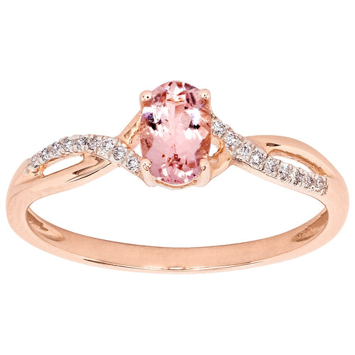 Morganite Diamond Fashion Ring in 14K Rose Gold