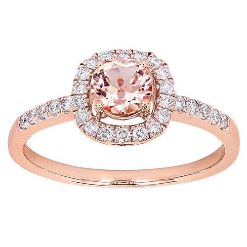 Round Morganite Halo Diamond Ring in 14K Rose Gold (5mm)