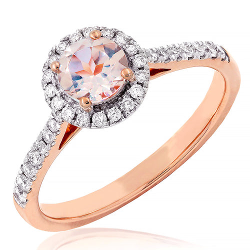Morganite Halo Diamond Ring in 14K Rose Gold Round (5mm)
