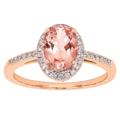 Oval Morganite Halo Diamond Ring in 14K Rose Gold (8mm x 6mm)